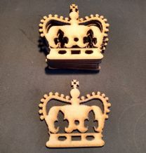 WOODEN large crown  shapes Pack of 10  laser cut 3 mm MDF 75 mm x 65 mm